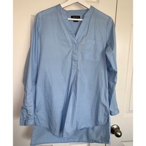 Trouve Long Blue Blouse
